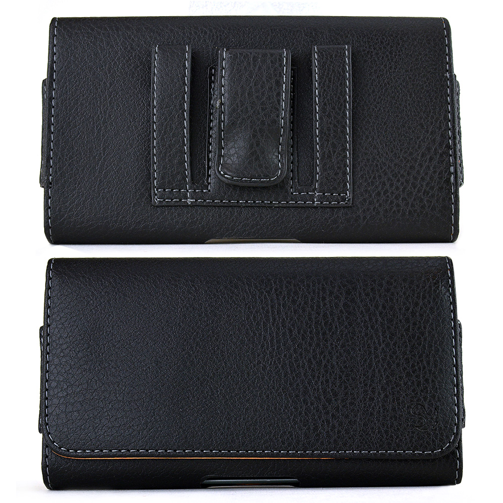 Black Universal Horizontal Leather Pouch w/ Magnetic Closure, Belt Clip and Belt Loops for Samsung Galaxy Note 1, 2, or 3