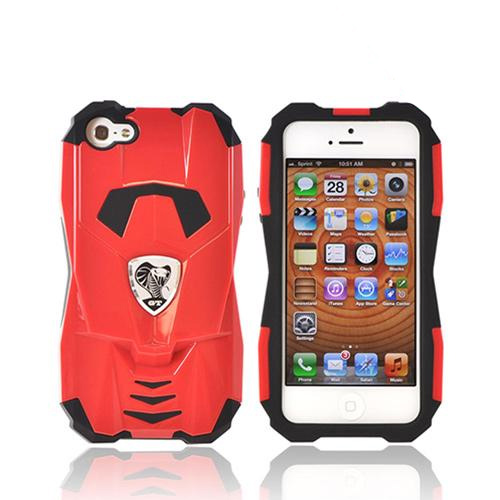 Premium Fusion Series Apple iPhone 5/5S Cobra GT Hard Cover Over Silicone Case w/ Screen Protector - Red/ Black