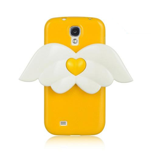 Yellow Sparkle Crystal Silicone Skin Case w/ White Angel Wings for Samsung Galaxy S4