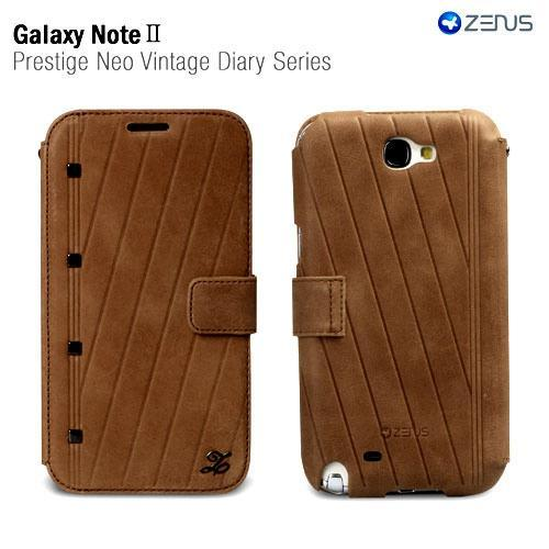 Brown OEM Zenus Prestige Series Vintage Leather Diary Case w/ ID Slots for Galaxy Note 2