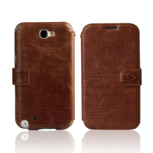 OEM Zenus Samsung Galaxy Note 2 Masstige Lettering Leather Diary Case w/ ID Slots - Brown