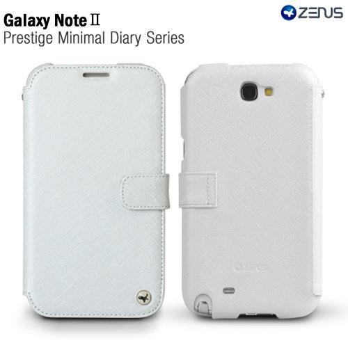 White OEM Zenus Samsung Galaxy Note 2 Prestige Series Minimal Leather Diary Case w/ ID Slots