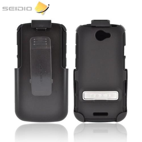 OEM Seidio HTC One S Active Combo Rubberized Hard Cover Over Silicone w/ Holster & Metal Kickstand - Black