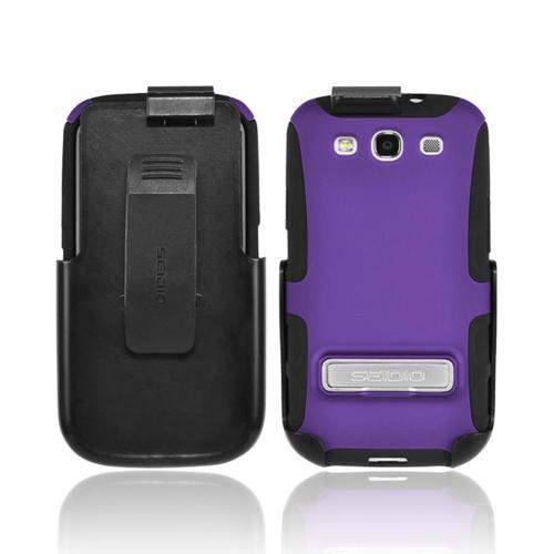 OEM Seidio Samsung Galaxy S3 Active Combo Rubberized Hard Over Silicone Case & Holster w/ Belt Clip - Purple/ Black