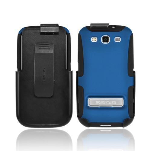 OEM Seidio Samsung Galaxy S3 Active Combo Rubberized Hard Over Silicone Case & Holster w/ Belt Clip - Blue/ Black
