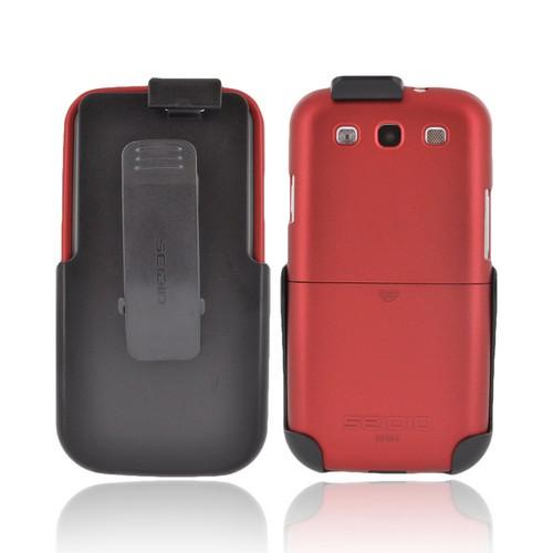 Seidio Samsung Galaxy S3 Surface Combo Rubberized Hard Case w/ Holster - Red/ Black