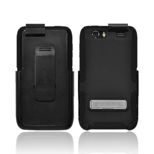 OEM Seidio Active Combo Motorola Atrix HD Rubberized Hard Cover Over Silicone w/ Kickstand & Holster w/ Belt Clip - Black