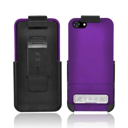OEM Seidio Surface Combo Apple iPhone 5/5S Rubberized Hard Case w/ Kickstand & Holster - Amethyst Purple/ Black