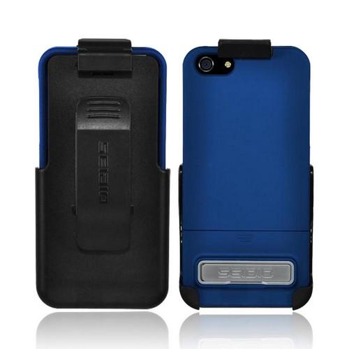 OEM Seidio Surface Combo Apple iPhone 5/5S Rubberized Hard Case w/ Kickstand & Holster - Blue/ Black