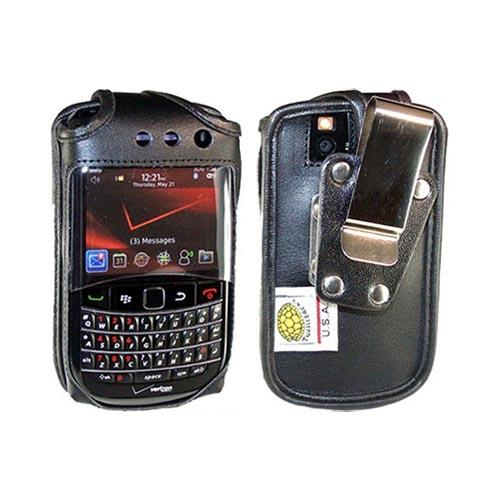 Original TurtleBack Premium Blackberry Bold 9650/ Tour 9630 Heavy Duty Leather Pouch w/ Steel Swivel Belt Clip - Black