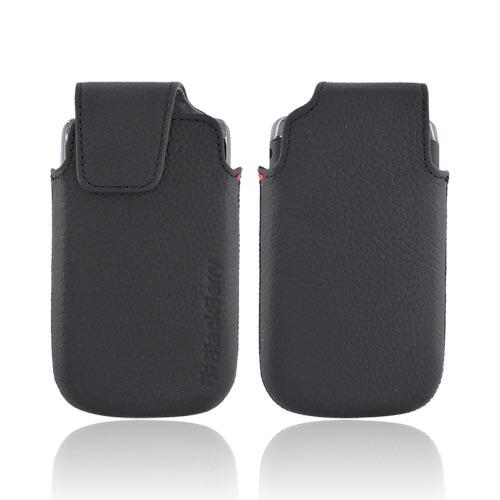 Original Blackberry Torch 9860, 9850 Leather Pocket Pouch Case w/ Magnetic Flap, ACC-38962-301 - Black