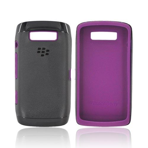 Original Blackberry Torch 9860, 9850 Hard Case Over Premium Skin, ACC-38964-303 - Black/ Purple