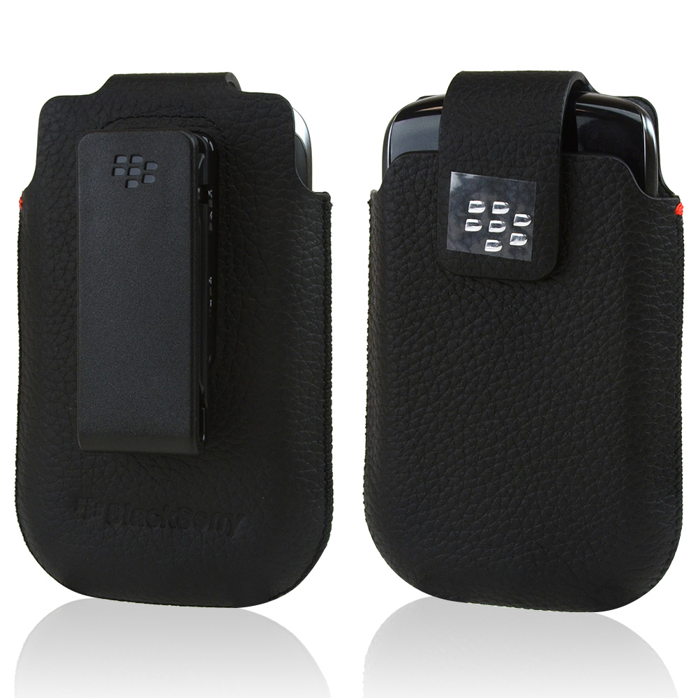 Original Blackberry Curve 9360/ Apollo Vertical Leather Swivel Holster w/ Rotating Belt Clip & Magnetic Flap, ACC-39401-301 - Black