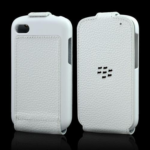 OEM Blackberry White Leather Flip Shell Case for Blackberry Q10
