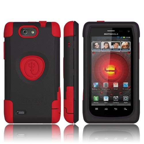 Original Trident Aegis Motorola Droid 4 Anti-Skid Hard Cover Over Silicone Case w/ Screen Protector, AG-DR4-RD - Red/ Black