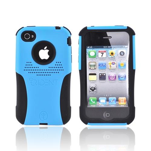 Original Trident AT&T/Verizon Apple iPhone 4, iPhone 4S Aegis Hard Case Over Silicone w/ Screen Protector, AG-IPH4-BL - Blue/Black