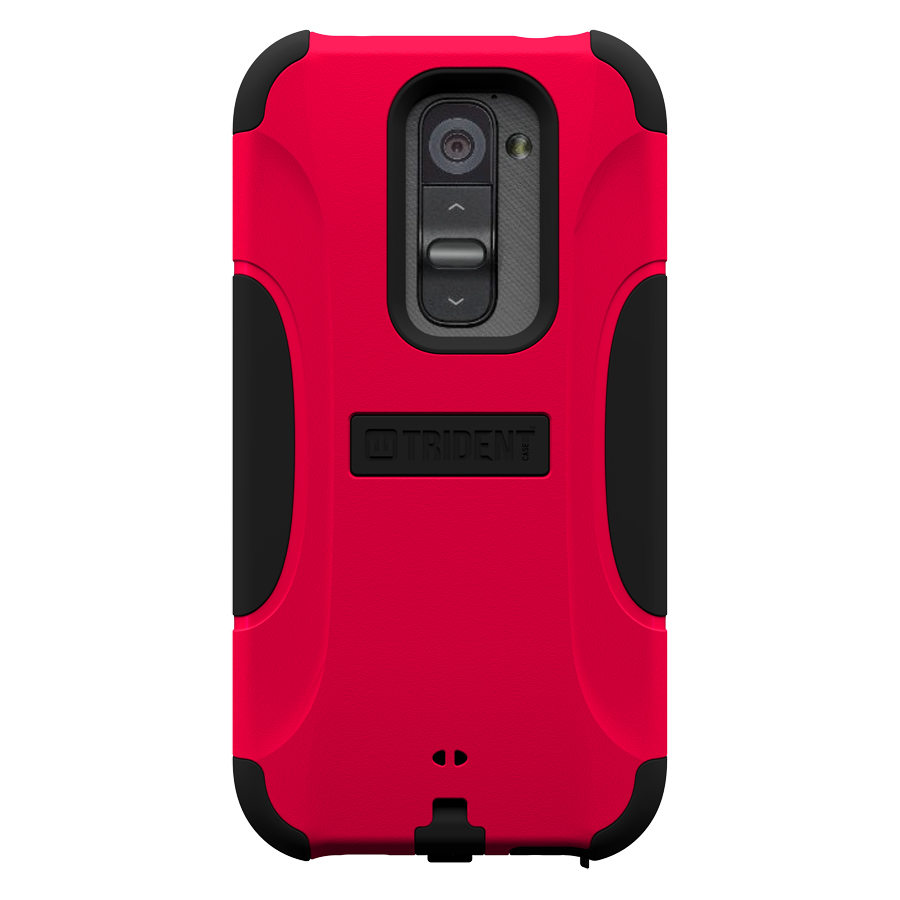 Trident Red/ Black Aegis Series Hard Cover on Silicone Case w/ Screen Protector for LG G2 (All Carriers) - AG-LG-G2-RED
