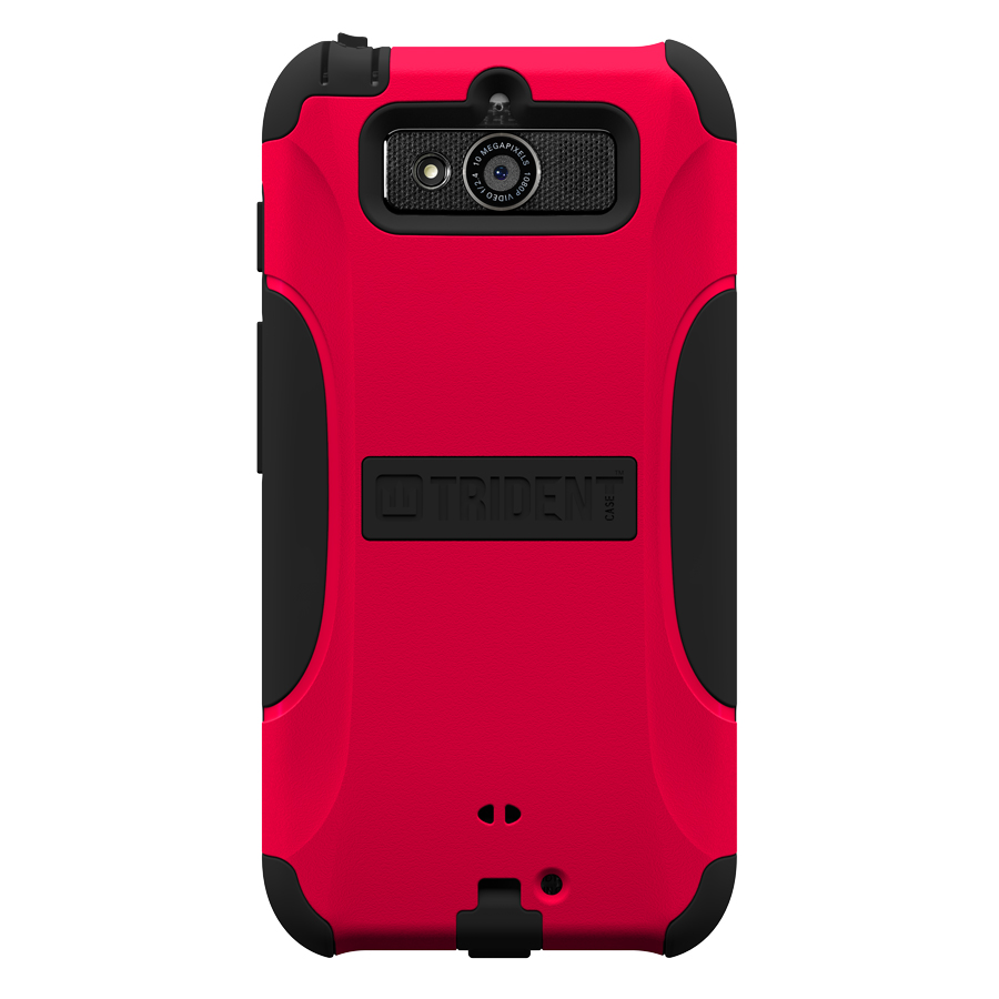 Trident Red/ Black Aegis Series Hard Cover on Silicone Case w/ Screen Protector for Motorola Droid Mini - AG-MOT-DRMINI-RED