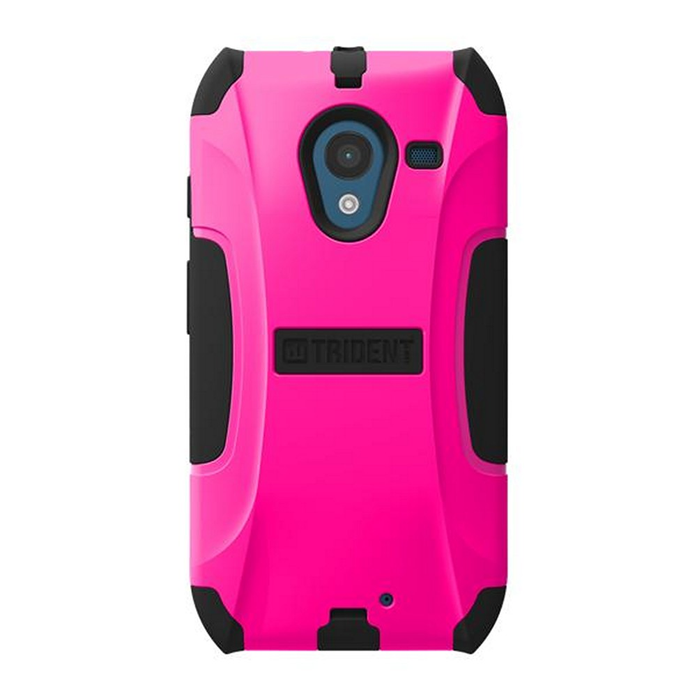 Trident Hot Pink/ Black Aegis Series Hard Cover on Silicone Skin Case w/ Screen Protector for Motorola Moto X - AG-MOT-X-PNK