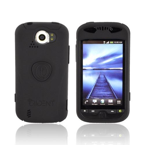 Original Trident Aegis HTC Mytouch 4G Slide Anti-Skid Hard Cover Over Silicone Case w/ Screen Protector & 3.5mm Audio Jack Extender, AG-MTS-BK - Black