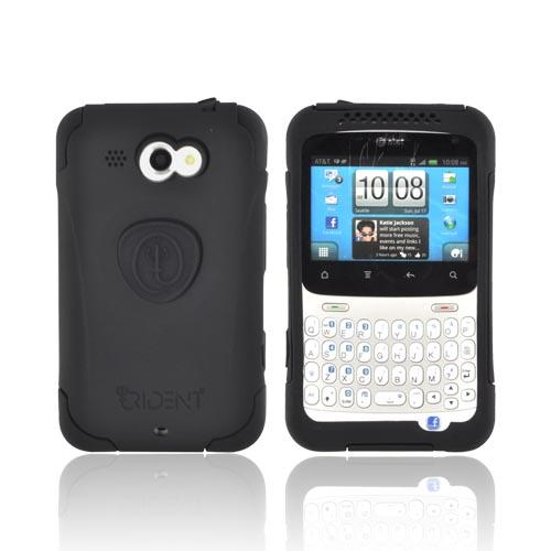 Original Trident Aegis HTC Status Anti-Skid Hard Cover Over Silicone Case w/ Screen Protector, AG-STS-BK - Black