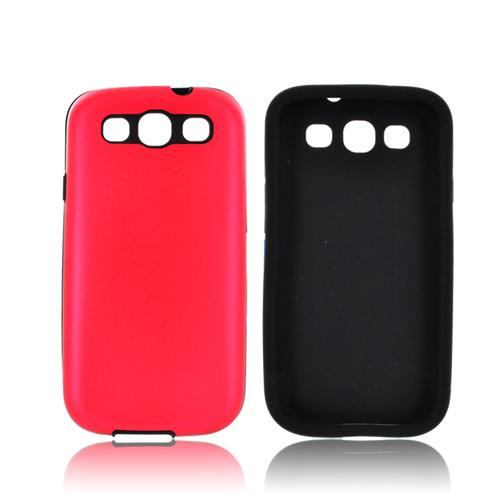 Samsung Galaxy S3 Aluminum Hard Case on Silicone - Red Aluminum on Black