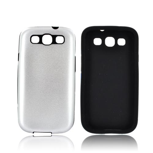 Samsung Galaxy S3 Aluminum Hard Case on Silicone - Silver Aluminum on Black