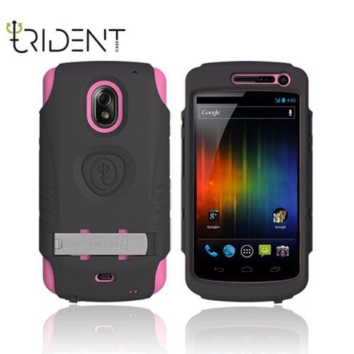 Original Trident AMS Samsung Galaxy Nexus Hard Case Over Silicone w/ Screen Protector, Kickstand, & Belt-Clip, AMS-GLNX-PK - Pink/ Black