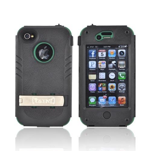 Original Trident Kraken AMS AT&T/ Verizon Apple iPhone 4, iPhone 4S Hard Case Over Silicone w/ Screen Protector, Kickstand, & Belt-Clip, AMS-IPH4S-BG - Green/ Black