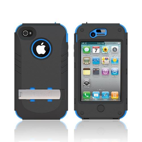 Original Trident Kraken AMS AT&T/ Verizon Apple iPhone 4, iPhone 4S Hard Case Over Silicone w/ Screen Protector, Kickstand, & Belt-Clip, AMS-IPH4S-BL - Blue/ Black
