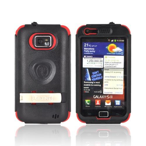 Original Trident Kraken AMS AT&T Samsung Galaxy S2 Hard Case Over Silicone w/ Screen Protector, Kickstand, & Belt-Clip, AMS-SGX2-RD - Red/ Black