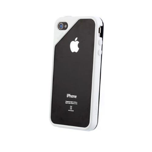 Original Zenus AT&T/ Verizon Apple iPhone 4, iPhone 4S Air Bumper Mask Hard Case w/ Screen Protector, APIP4-BB2BA-WHBK - Black/ White
