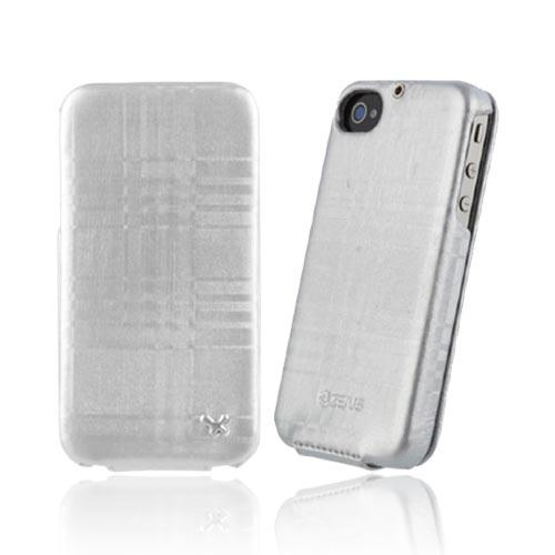 Original Zenus AT&T/ Verizon Apple iPhone 4, iPhone 4S Masstige Leather Folder Mono Check Series Case, APIP4-ML7FD-SL - Cyber Silver Plaid