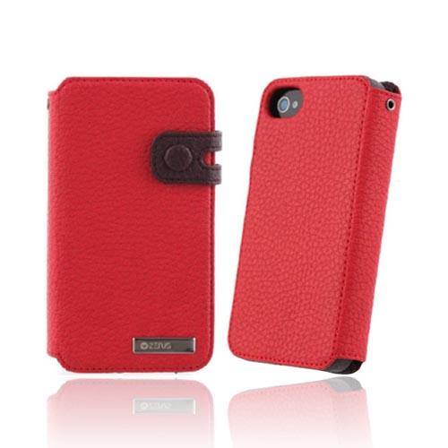 Original Zenus AT&T/ Verizon Apple iPhone 4, iPhone 4S Masstige Leather Edge Diary Series Case w/ ID Slots, APIP4-MLIDY-RD - Red/ Brown