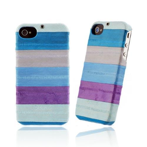 Original Zenus AT&T/ Verizon Apple iPhone 4, iPhone 4S Prestige Eel Leather Bar Series Case, APIP4-PE5BA-ASBU - Multi Blues
