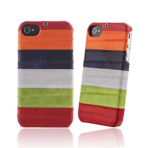 Original Zenus AT&T/ Verizon Apple iPhone 4, iPhone 4S Prestige Eel Leather Bar Series Case, APIP4-PE5BA-ASRD - Multi Reds