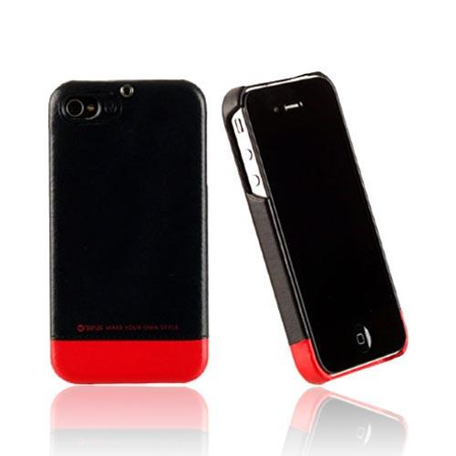 Original Zenus AT&T/ Verizon Apple iPhone 4, iPhone 4S Prestige Leather Bar Series Case, APIP4-PLLFD-BKRD - Black/ Red