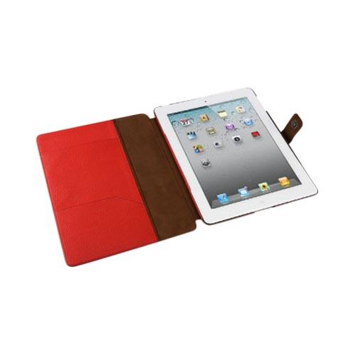 Original Zenus Apple iPad 2 Masstige Color Block Folio Series Leather Case Stand, APPD2-MLLFL-BC - Dark Chocolate w/ Red & Brown Interior