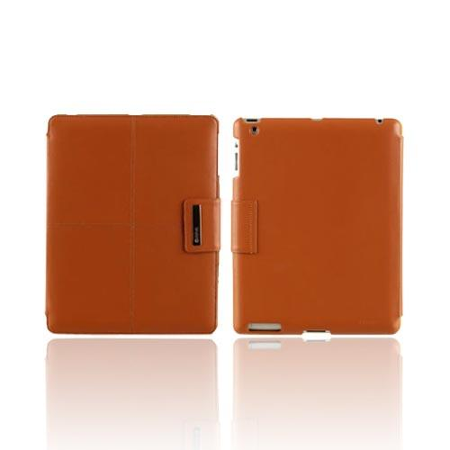 Original Zenus Apple iPad 2 Prestige Luxury Basic Band Series Leather Stand Case, APPD2-PLLBD-CB - Camel Brown w/ Yellow Interior