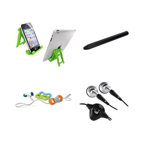 Asus Transformer Essential Bundle Package w/ Green Lime 3Feet Stand, Black Metal Pen Stylus, Blackberry Headset (3.5mm) & Belkin Cable Organizer