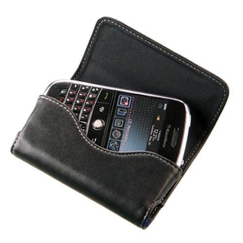 Original Blackberry Bold Folio Horizontal Leather Pouch w/ Money Slot & Wrist Strap, ASY-16004-001 - Black
