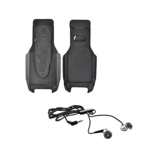Casio G'zOne Rock Essential Holster w/ Belt Clip, 3.5mm Stereo Headset and 2.5mm Adapter Bundle
