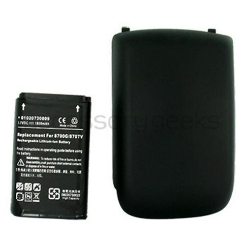 Blackberry Curve 3G 9330, 9300, 8520, 8530 Extended Battery w/ Battery Door 1800mAh - Black