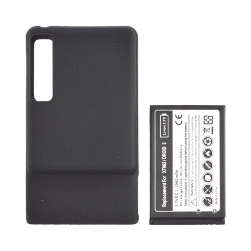 Motorola Droid 3 Extended Battery w/ Rubberized Door (3000 mAh) - Black