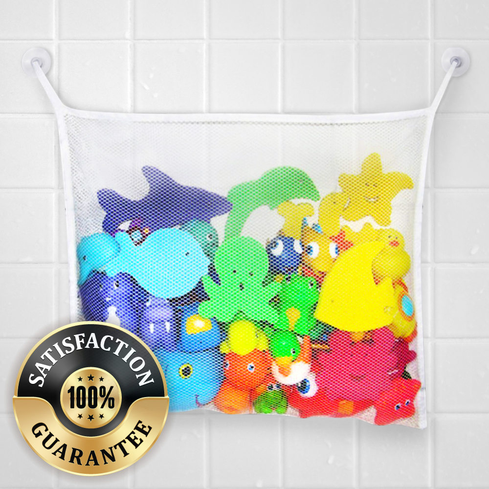 Accessory Geeks Universal White Hanging Mesh Net Toy Organizer For Kids Bath w/ Suction Cup