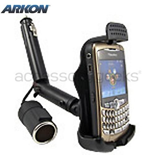 Original Arkon Blackberry Bold 9650 & Tour 9630, Curve 8700, Curve 8900 Lighter Socket Mount w/ Additional Power Dongle, BB221 - Black