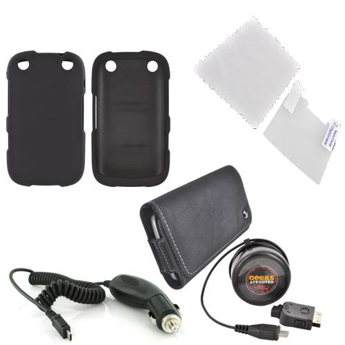 Blackberry Curve 9310/9320 Essential Bundle Package w/ Black Rubberized Hard Case, Screen Protector, Leather Pouch, Car & Travel Charger
