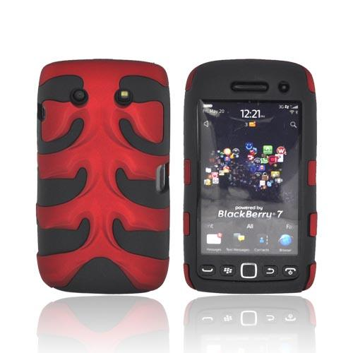Original Nex Blackberry Torch 9860 9850 Rubberized Hard Fishbone on Silicone Case w/ Screen Protector, BB9570FB03 - Red/ Black