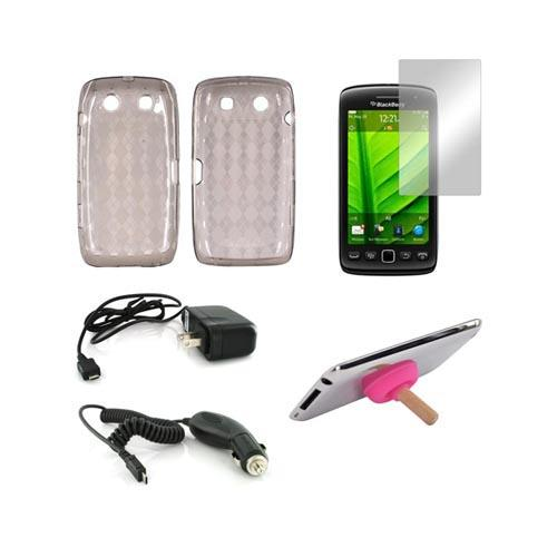 Blackberry 9850, 9860 Essential Bundle Package w/ Smoke Crystal Silicone Case, Mirror Screen Protector, Hot Pink Plunger Stand, Car & Travel Charger