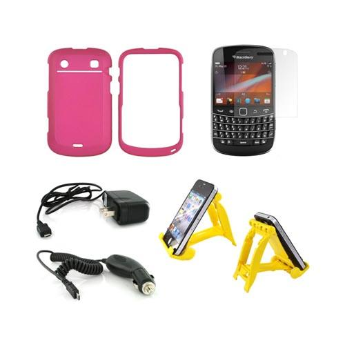 Blackberry 9900, 9930 Essential Bundle Package w/ Rose Pink Rubberized Hard Case, Screen Protector, Sunshine Yellow 3Feet Stand, Car & Travel Charger